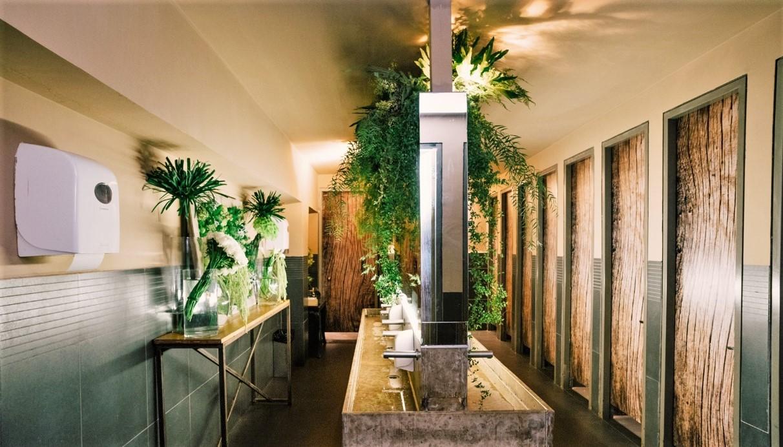 חדר שירותים מעוצבים בסגנון יער אקולוגי בכנס מעלה