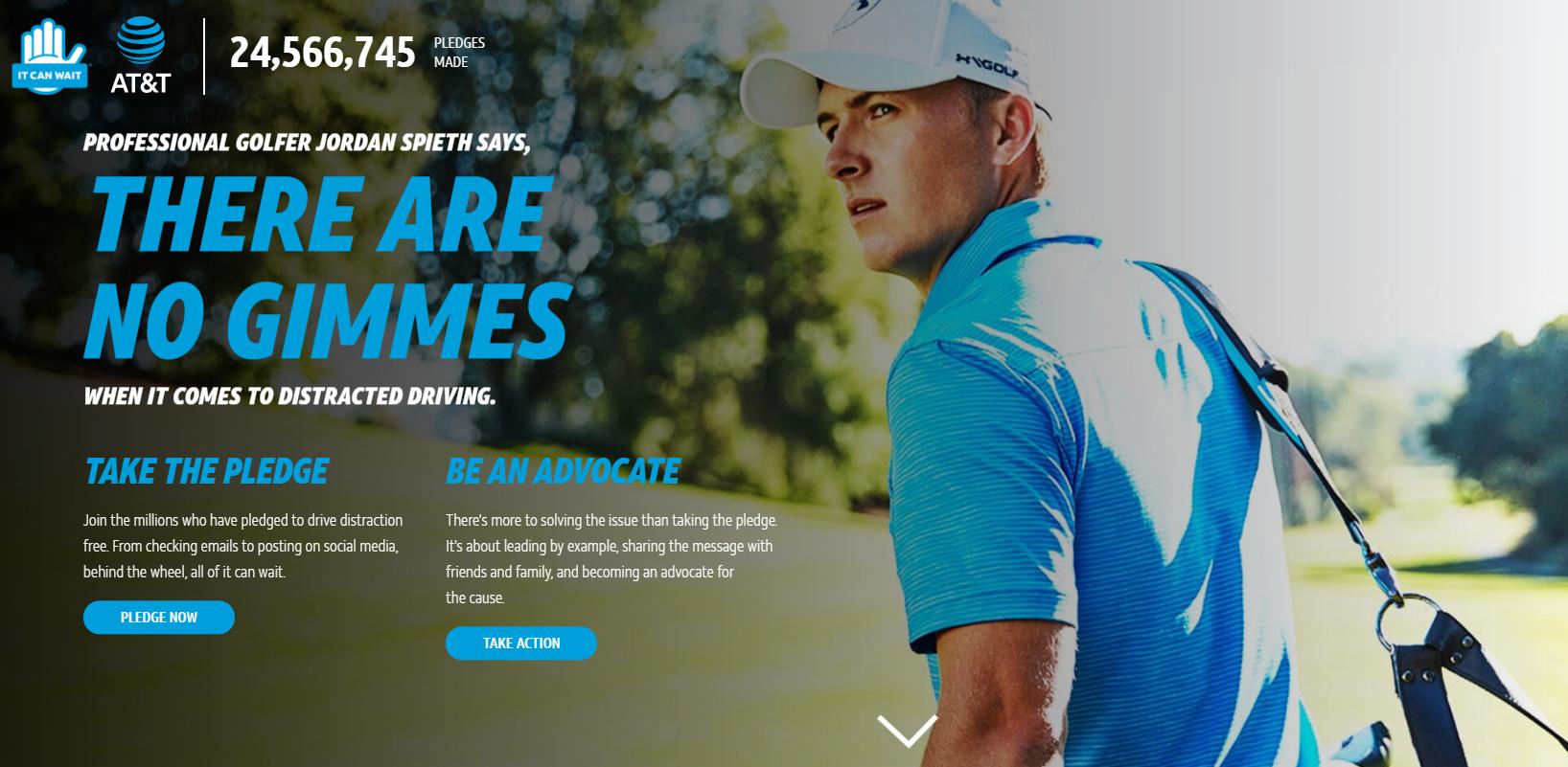 שחקן הגולף ג'ורדן ספית, הפרזנטור של קמפיין הבטיחות של ATT