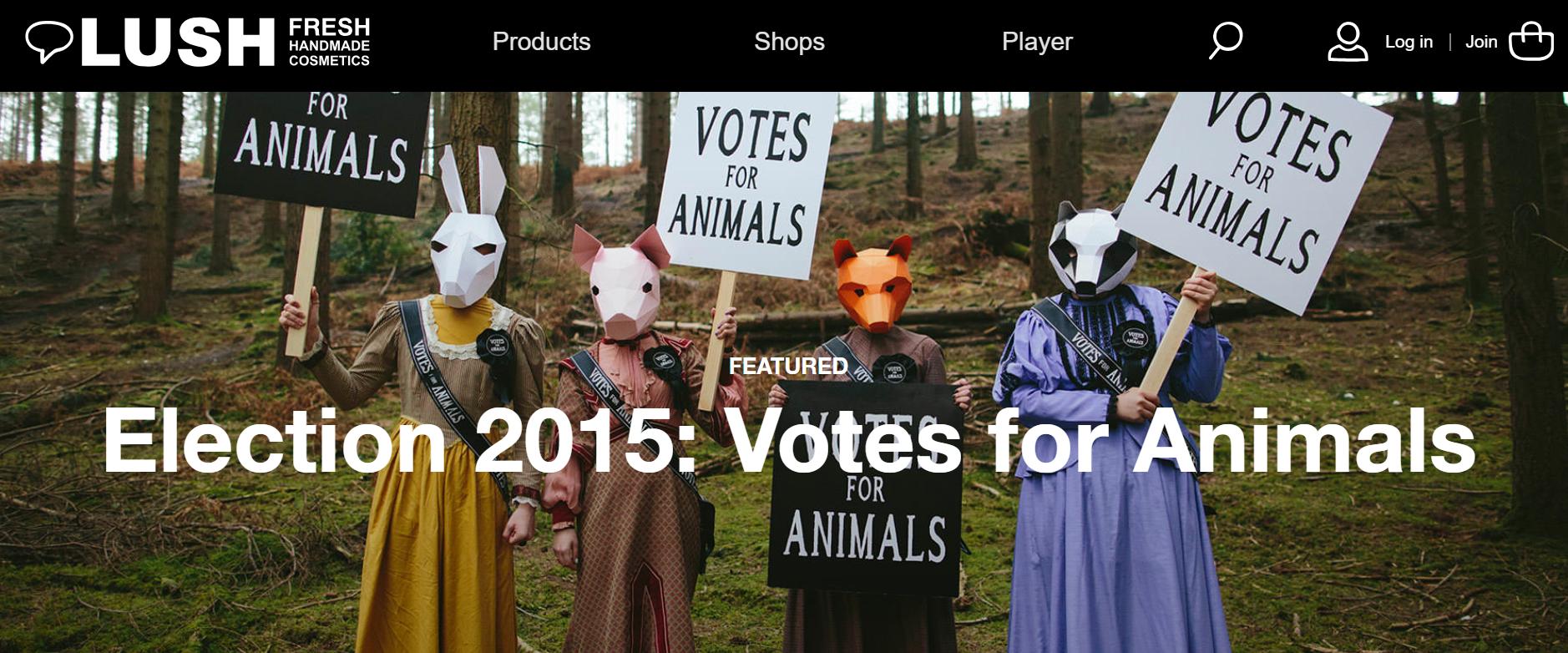 קמפיין מותג לאש בנושא זכויות בעלי חיים בחירות לפרלמנט באנגליה